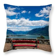 Bench With Panorama View Throw Pillow