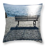 Bench With Shadow Throw Pillow