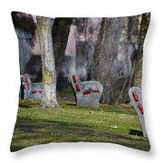 Benches Throw Pillow