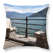 Benches On The Lake Front Throw Pillow