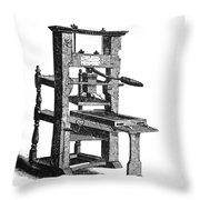 Benjamin Franklins Printing Press Throw Pillow
