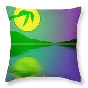 Bent Palm Sunrise Throw Pillow