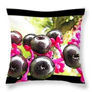 Berry Burst   Poke Berries Throw Pillow