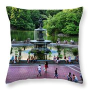 Bethesda Fountain Overlooking Central Park Pond Throw Pillow