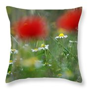 Between Red Throw Pillow