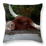Beware Smiling Bull Throw Pillow