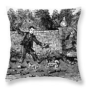 Bewick: Boy With Dogs Throw Pillow