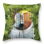 Beyond The Gate - A Scene From Mackinac Island Michigan Throw Pillow