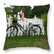 Bicycle And Picket Fence Throw Pillow