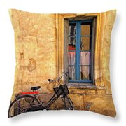 Bicycle And Window In France Throw Pillow