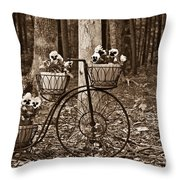 Bicycle Built For Three Throw Pillow