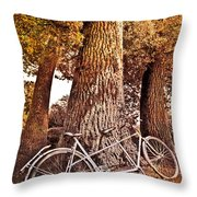 Bicycle Built For Two Throw Pillow by Debra and Dave Vanderlaan