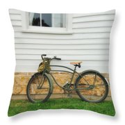 Bicycle By House Throw Pillow