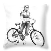 Bicycle Girl Throw Pillow