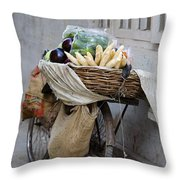 Bicycle Loaded With Food, Delhi, India Throw Pillow