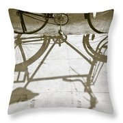 Bicycle Shadow Throw Pillow