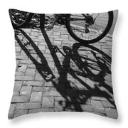 Bicycle Shadows In Black And White Throw Pillow