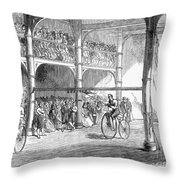 Bicycle Tournament, 1869 Throw Pillow