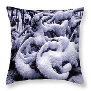Bicycles Covered With Snow Throw Pillow