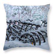 Bicycles In The Snow Throw Pillow