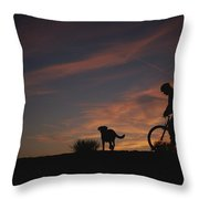 Bicyclist And Pet Silhouetted Throw Pillow