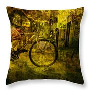 Bicyclist On The Move No. Ol4 Throw Pillow