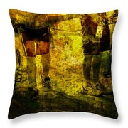 Bicyclists On The Move No. Ol6 Throw Pillow