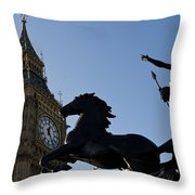 Big Ben And Boadicea Statue  Throw Pillow