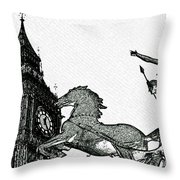 Big Ben And Boudica Charcoal Sketch Effect Image Throw Pillow