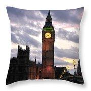 Big Ben Sunset Throw Pillow