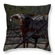 Big Bull Long Horn Throw Pillow