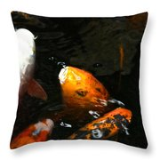 Big Lip Koi Spit Throw Pillow