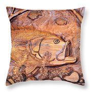 Big Mouth Bass Carving Throw Pillow