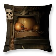 Big Pumpkin With Black Witch Hat And Broom Throw Pillow by Sandra Cunningham