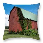 Big Red Barn On Rt 227 Throw Pillow