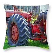 Big Red Rubber Tire Tractor Throw Pillow