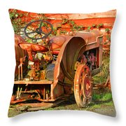 Big Red Tractor Throw Pillow