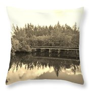 Big Sky And Dock On The River In Sepia Throw Pillow