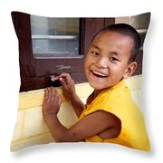 Big Smile At The Window Throw Pillow