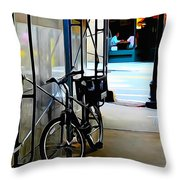 Bike - Scaffold - Lunchers - Water Color Conversion Throw Pillow
