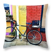 Bike Leaning On The Colorful City Walls Of Asheville  Throw Pillow