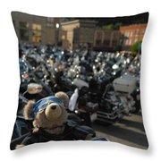 Biker Bear Throw Pillow