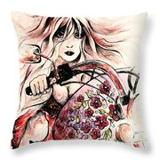 Biker Girl Throw Pillow