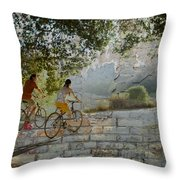 Bikes And Bricks Throw Pillow