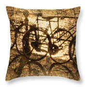 Bikes On The Canal Throw Pillow