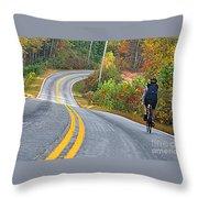 Biking In Autumn Throw Pillow