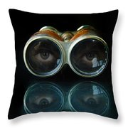 Binoculars With Eyes Looking At You Throw Pillow