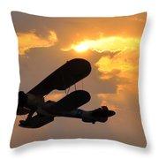 Biplane At Sunset Throw Pillow