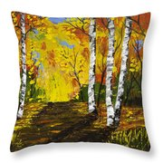Birch Trees And Road Fall Painting Throw Pillow