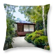 Birch Trees At The Teahouse Throw Pillow